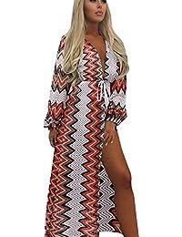 74bef335c Vestido de Playa de Mujer de Vestido de Rayas de Vestido Boho de Fiesta  Noche de