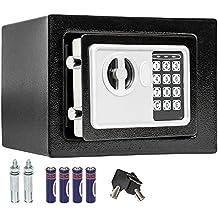 TecTake - Caja de seguridad electrónica maciza (17 X 23 X 17 cm, incluye 4 pilas), color negro