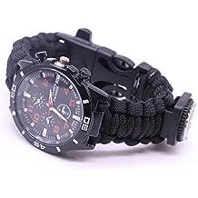 Yogogo Outdoor Survival Watch Armband Paracord Kompass Flint Feuerstarter Pfeife (Bunt D)