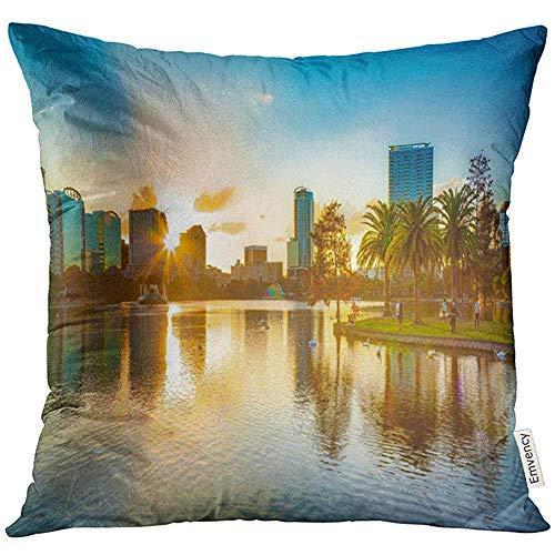 QDAS Dekokissen Abdeckung Skyline Sonnenuntergang am Orlando Florida Lake Downtown EOLA Dekorative Kissenbezug Home Decor Square Kissenbezug
