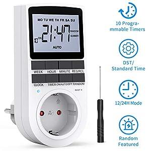 RATEL Presa Temporizzata, Presa Programmabile Digitale, Spina Timer elettronico digitale programmabile con strumento di… 1 spesavip