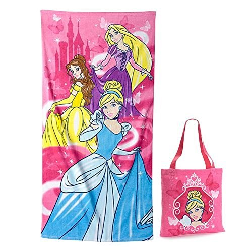 Disney Princess Cinderella, Belle, Rapunzel Cotton Beach Vacation Swimming Towel and Tote Bag Set by Disney - Bella Beach Bag
