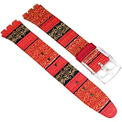 Swatch Sweet Sarong Replacement Watch Strap Leather/Textile Band 16 mm red SFK187