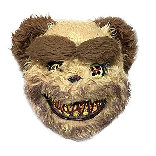 Der Bär Kostüm Leuchtende - TIREOW Halloween Simulation Blutiger Horror Kaninchen Bär Tiermaske Plüsch Maske Frauen Männer Cosplay Maskerade Requisiten Spukhaus Party Masken Tiermaske (Kaffee)