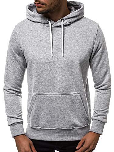 OZONEE Herren Kapuzenpullover Sweatshirt Pullover Pulli Crewneck Modern Täglichen Streetwear Sport Langarmshirt 777/1545B GRAU M