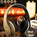 Bluetooth Casque Sans Fil, Over Ear Stereo Casques Audio 4 en 1 Pliable Portable Wireless Headphones fil usb avec Micro Support FM Radio TF SD pour iPhone Android Téléphones Tablettes TV PC Notebook
