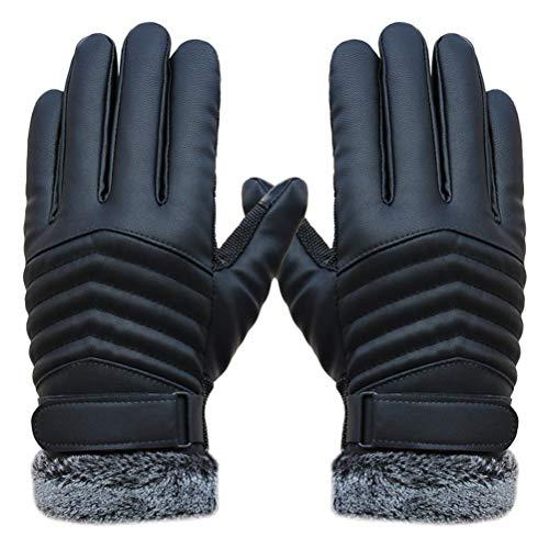 Benutzerdefinierte Winter-handschuhe (Qianliuk Erwachsene Leder Bike Motorrad Handschuhe, Winter warme Touchscreen Vollfingerhandschuh schwarz Uinform Größe)