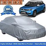 #4: Autofact Premium Silver Matty Triple Stitched Car Body Cover with Mirror Pocket for Maruti Brezza