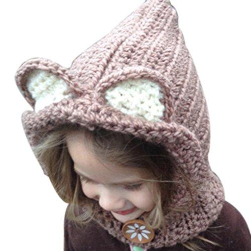 Bobury Kinder Kinder Warme Kleine Bär Tier Hut Gestrickte Coif Kapuze Schal Mütze Mützen für Herbst Winter (Gestrickte Bären Hut)