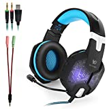 Kotion Each G1000 Gaming Headset with Noise Cancelling Mic,Professional 3.5mm PC Stereo Gaming Headset, Bass Headphones with Colorful Breathing LED Light for Laptop Computer--Black and Blue