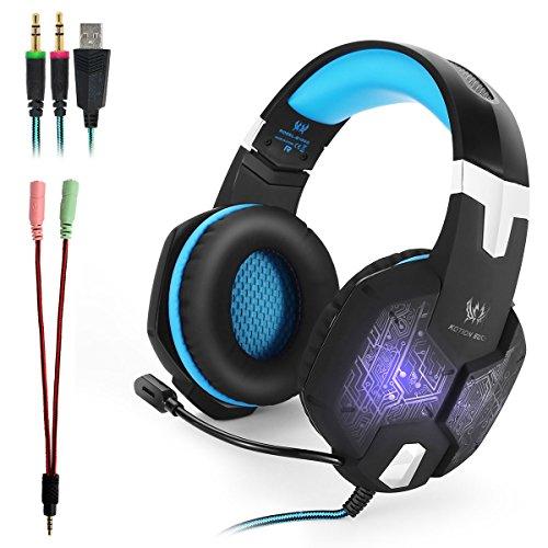 KOTION EACH G1000 Professional PC Stereo Gaming Headset 3,5mm + USB Kopfhörer Einklappbares Headband mit Mikrofon Geräuschisolierung Over Ear headset Atmen LED Lichtt für PC Gamer