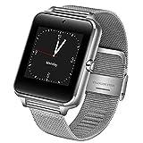 KWAOCYBR Reloj Inteligente para Hombres Reloj Sync Notifier Soporte para Tarjeta SIM Conectividad Bluetooth para iOS Android Women Smartwatch, Silver2
