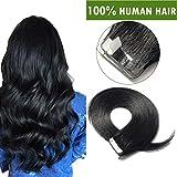 16'(40cm) Extensiones Adhesivas de Cabello Natural Sin Clip [2.5g*10pcs] #60 Rubio Platino 100% Remy Pelo Humano Tape in Hair Extensions (25g)
