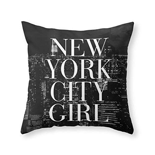 gthytjhv New York City Girl Black & White Skyline Vogue Typography Decorative Wurfkissenbezugs 18x18 Farmhouse Couch Kissenbezüge Gifts for Girls,for Women,for Mom Vogue New York