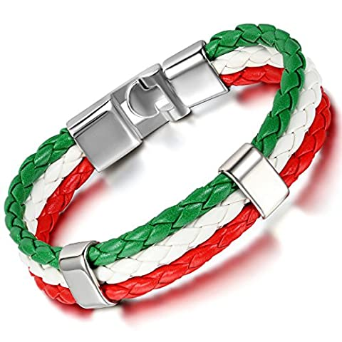 Cupimatch Mens Women Italy Flag Italian Banner Cuff Bangle Braided Leather Bracelet, Red White Green,