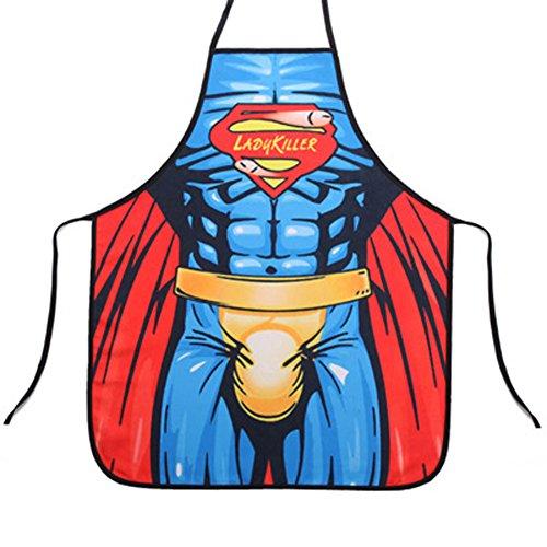 P.LOTOR Neuheit-Karikatur Schürze Lustige Kellnerin Küche Grillschürze Kochen & Waschen Schürze (The Green Hornet), justierbare Taille Krawatten, maschinenwaschbar, 28 X 23 Zoll