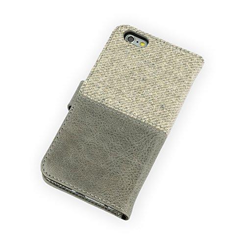 QIOTTI >               Apple iPhone 6 und 6S (4,7 Zoll)               < incl. PANZERGLAS H9 HD+ Geschenbox Booklet Wallet Case Hülle Premium Tasche aus echtem Kalbsleder / Denim mit Kartenfächer. Edel verpackt incl. Stoffbeutel. GREY