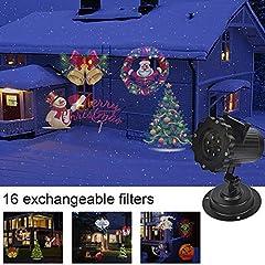Idea Regalo - Proiettore Lampada Led Natalizia con 16 Lenti Intercambiabili IP44 LED Proiettore Luci Natale Interno Parete Decorazione Illuminazione Natalizia da Esterno per il Natale, Halloween,Festa,Giardino