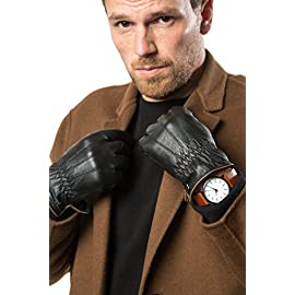 Marino Mens Warm Fashion Leather Gloves, Extreme Cold Weather Waterproof Gloves with Insulation Liner