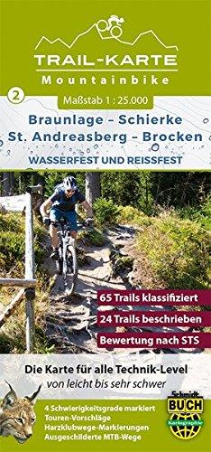 mtb-mountain-bike-trail-karte-harz-2-braunlage-schierke-st-andreasberg-brocken-1-25-000-wasser-und-r