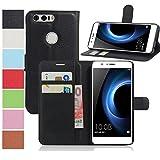 MaxKu Huawei Honor 8 Pro Hülle, Premium PU Leder Mappen Kasten für Huawei Honor 8 Pro Smartphone, Schwarz