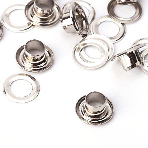 100x 4mm Ösen Tülle chrom beschichtetes Messing basiert rostbeständig Hohe Qualität Kleidung Leder Work von trimmen Shop, Massives Messing, silber, 8 mm (Leinwand-gummi-ente)