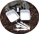 Camping Set: Alu Koch Essgeschirr mit Edelstahlbecher und Essbesteck