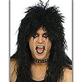 Amakando Herrenperücke schwarz Hardrocker Vokuhila Langhaarperücke Männer Herrenperücke Punker Rockstar Alice Cooper Rocker Perücke Kiss