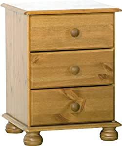 table de chevet 3 tiroirs pieds ronds pin. Black Bedroom Furniture Sets. Home Design Ideas