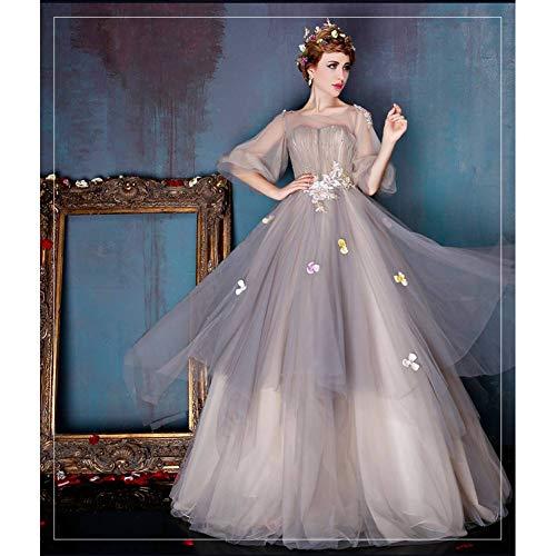 Kostüm Mädchen Antoinette Marie - QAQBDBCKL Hellgrauer Strass Perlen Laterne Ärmel mittelalterliches Kleid Renaissance Gown Queen Kostüm Victoria/Marie Antoinette Belle Ball