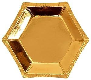 Neviti- Glitz and Glamour Platos de papel, Color dorado, Small (773345)