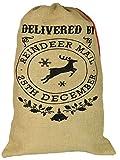 Nicola Spring Sac en Toile de Jute/Chaussette de Noël - « Delivered by Reindeer Mail 25th December »