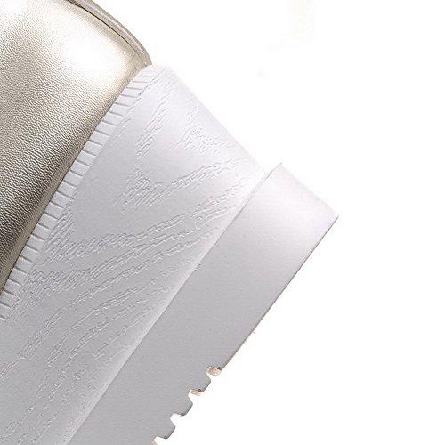VogueZone009 Femme Carré Lacet Pu Cuir Couleur Unie à Talon Correct Chaussures Légeres Doré