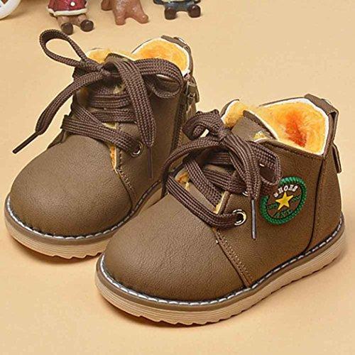 Longra Arbeiten Sie nette Winter Baby Jungen Mädchen Kind Armee Art Martin Stiefel Aufladungs warme Babyschuhe Khaki