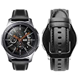 iBazal 22mm Bracelets Cuir Bandes Compatible avec Samsung Gear S3 Frontier Classic,Galaxy Watch 46mm Bands Remplacement pour Huawei GT/Honor Magic/2 Classic,TicWatch Pro Hommes Montres Bands - Noir