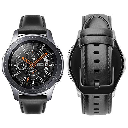 iBazal 22mm Armband Leder Uhrenarmband Lederarmband Armbänder Ersatz für Gear S3 Frontier/Classic,Galaxy Watch 46mm SM-R805/R800,Huawei GT/Honor Magic/2 Classic,Ticwatch Pro Herren Uhrarmband -Schwarz