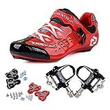 TXJ Rennradschuhe Fahrradschuhe Radsportschuhe mit Klickpedale EU Größe 45 Ft 28.5cm (SD-003 Rot/Schwarz)(pedale schwarz)
