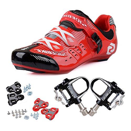 TXJ Chaussures de vélo Chaussures de vélo de route Chaussures de vélo de sport avec système de fixation aux pédales SD-003 Rot / Schwarz, pedale schwarz