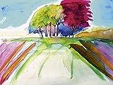 Artland Qualitätsbilder I Alu Dibond Bilder Alu Art 60 x 45 cm Landschaften Felder Malerei Bordeauxrot C0CK Baum Gruppe