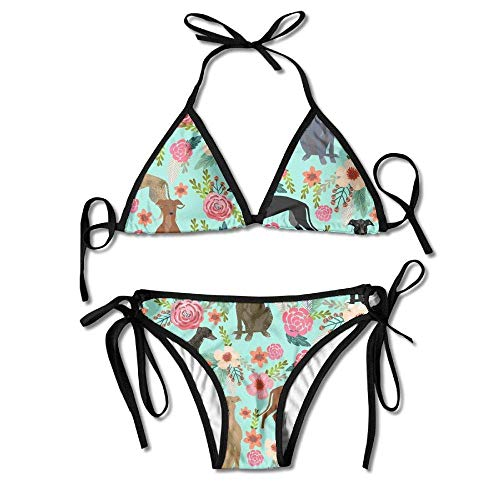 Greyhound Floral Cute Dog Mint Vintage Women Sexy Low Waist Bandage Bikini Beachwear Swimsuit