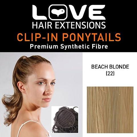 Amor Cabello Extensiones Percilla cola de caballo - la fijación mediante elástica - pelo sintético de alta calidad - Color 22 - Playa de rubio, 1er Pack (1 x 1 pieza)