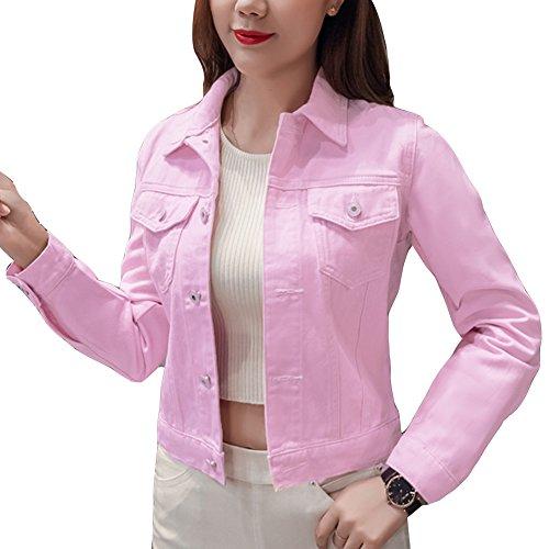 Damen Jacke Denim Jacket Lange Ärmel Jacke Jeansjacke Knopfverschluss Outerwear Pink M