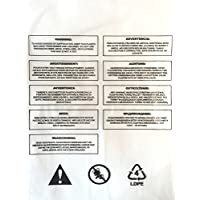 100 x Advertencia de asfixia, Auto Sellable, Bolsa de polietileno transparente 1.6mil /40 Micras, Durable - Ideal para FBA (varios tamaños)