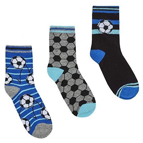 The Pyjama Party Jungen Socken, 3 Stück, verschiedene Designs Gr. 23-26, Football Blue Theme -