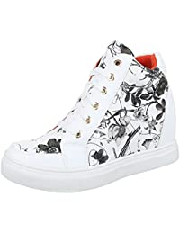 1a5d68c982a9 Ital-Design High-Top Sneaker Damen Schuhe High-Top Keilabsatz Wedge Sneakers