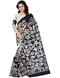 Sugathari Sarees Women's Black And White Mysore Bhagalpuri Art Silk Saree (BHAGALPURI SAREES 30 Sugathari)