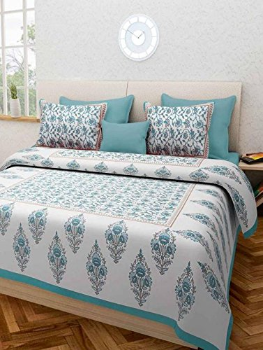 Jaipuri Style 100% Cotton Rajasthani Tradition King Size Double Bedsheet With 2...