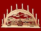 Schwibbogen Stadtansicht Aue 10-flammig graviert als Weihnachtsdekoration für's Fenster Original Erzgebirge aus eigener Herstellung