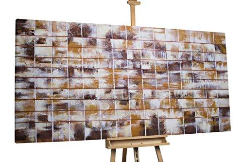 'Honigraster' 200x100cm | Abstrakt Kacheln Muster Weiß | Modernes Kunst Ölbild