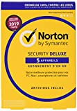 Symantec Norton Security Deluxe 3.0 Base license 5  dispositivos 1año Francés - Seguridad y antivirus 2019, PC / Mac / iOS / Android, descarga